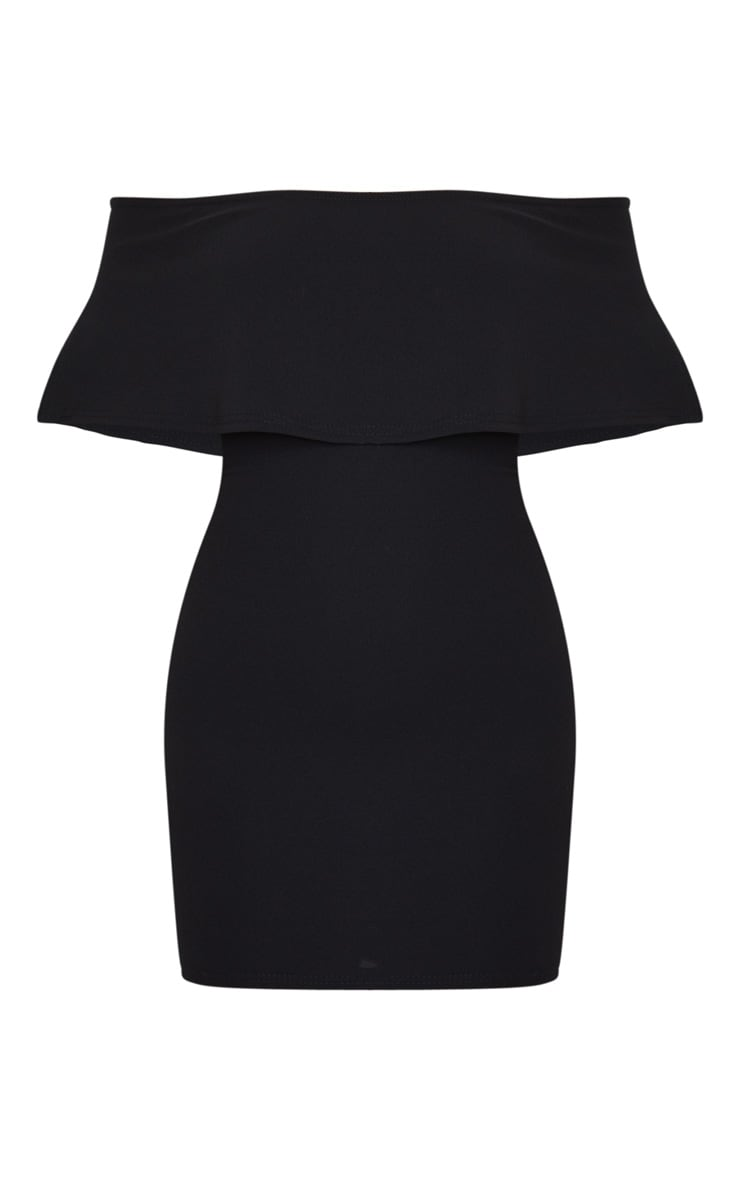 Carley Black Frill Bodycon Dress 6