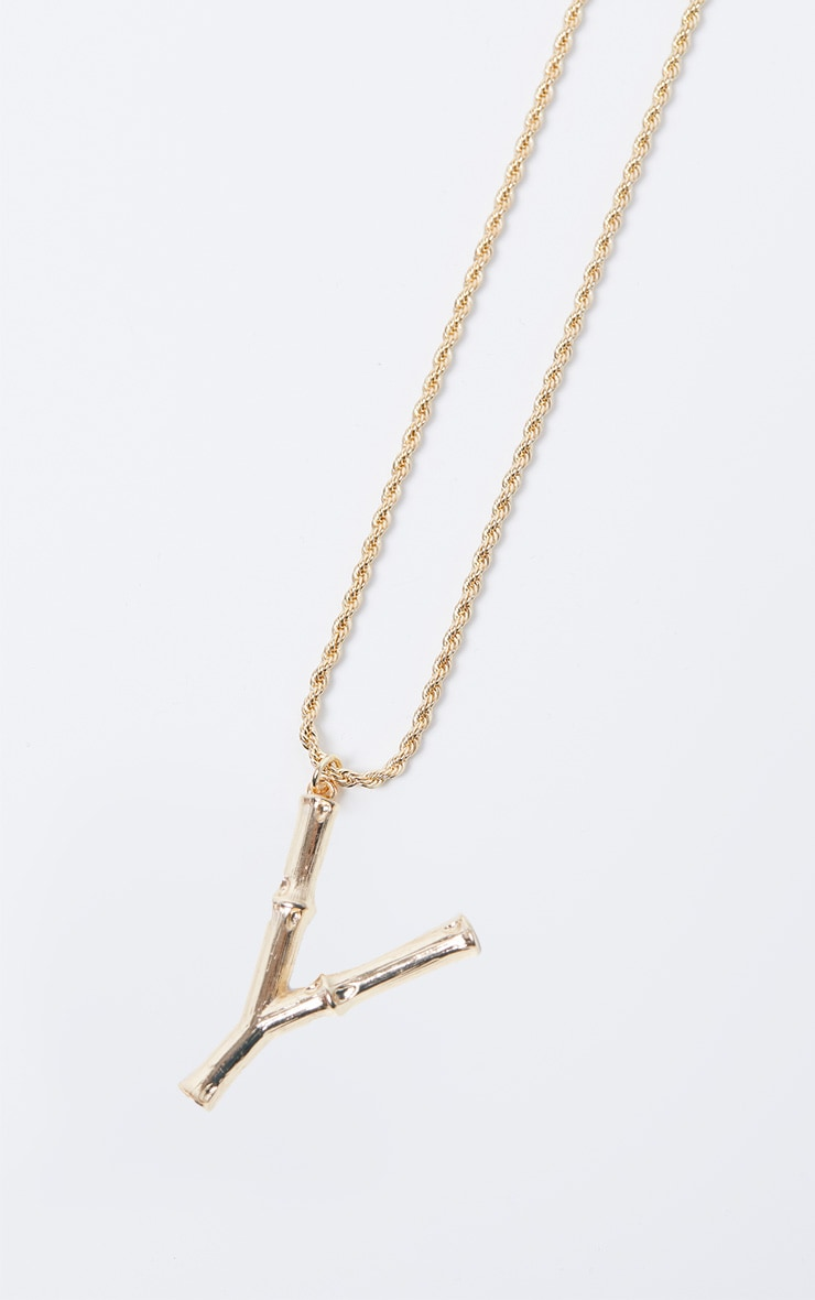 Gold Y Bamboo Letter Necklace 3