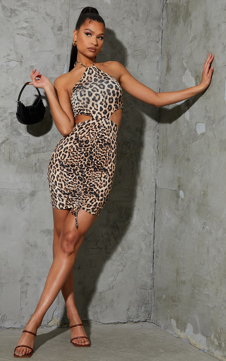 Multi Leopard Print Slinky Halterneck Cut Out Ruched Bodycon Dress 3