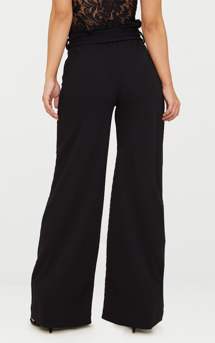 Petite Black Paperbag Wide Leg Trousers 4