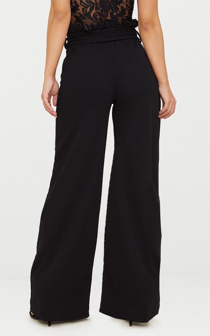 Petite Black Paperbag Wide Leg Pants 4