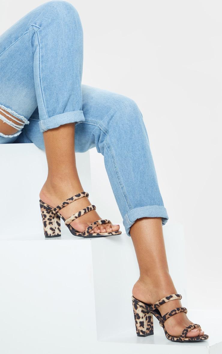 Leopard Triple Strap Mule Block Heel Sandal 1