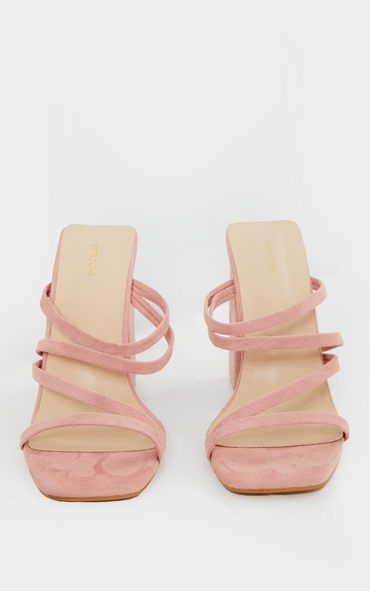 Light Pink Faux Suede Block Heel Strappy Mule Sandal 3