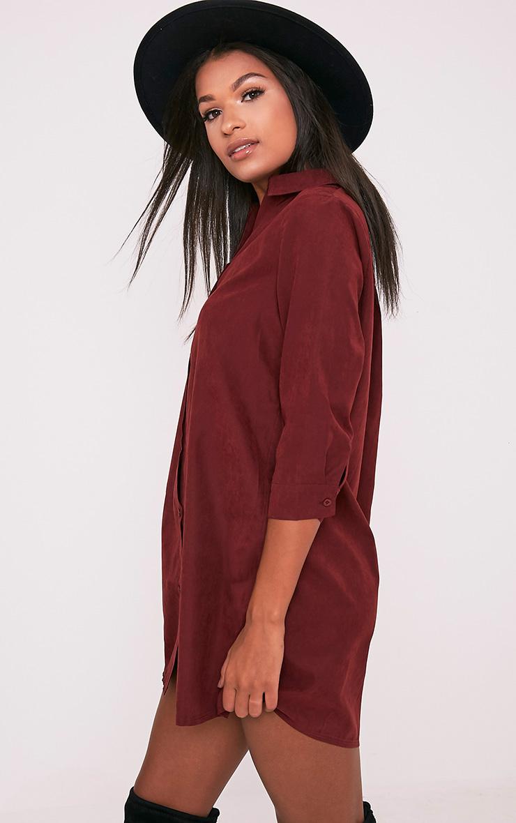 Leni Burgundy Shirt Dress 5