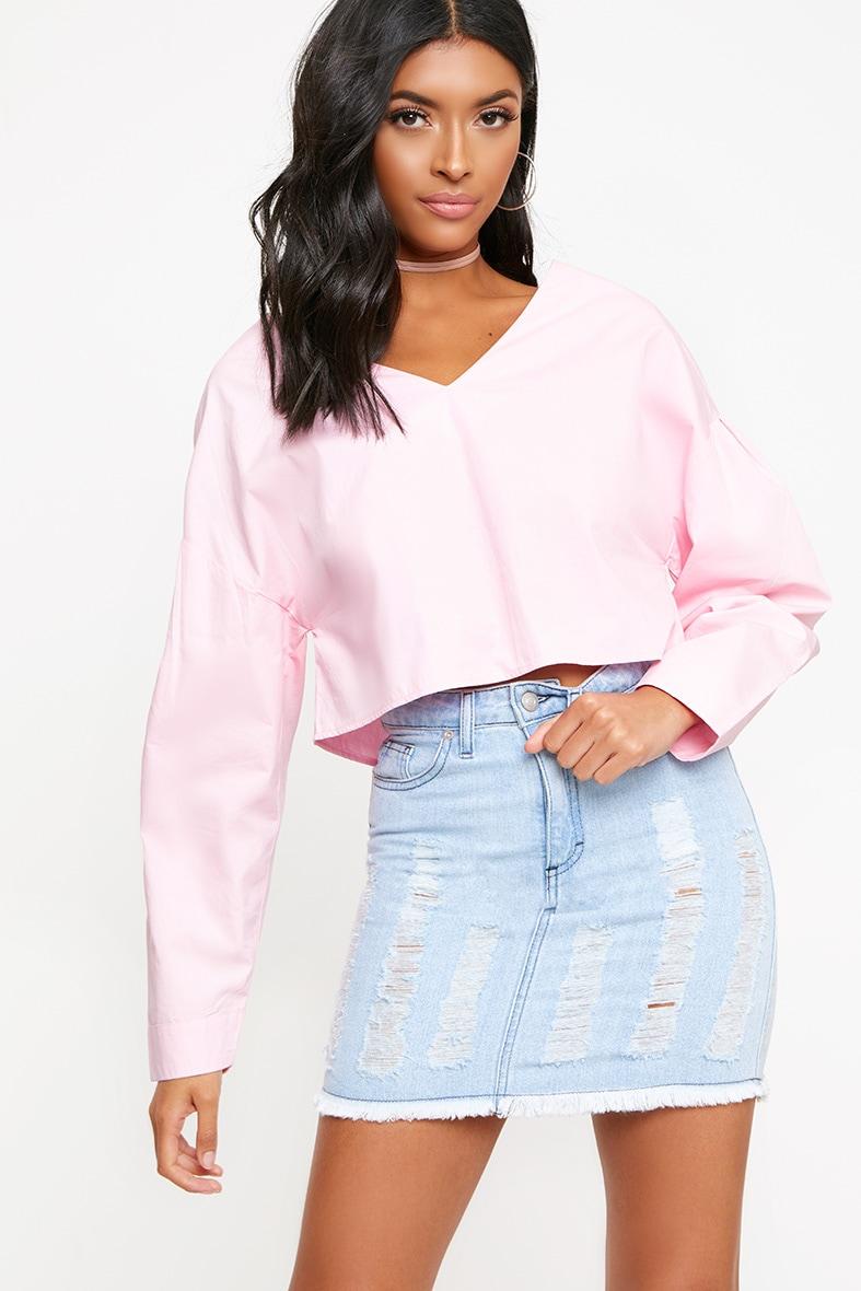 Pink V Neck Drop Sleeve Shirt 1