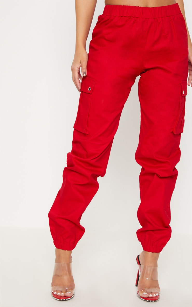 Petite Red Pocket Detail Cargo Pants 2