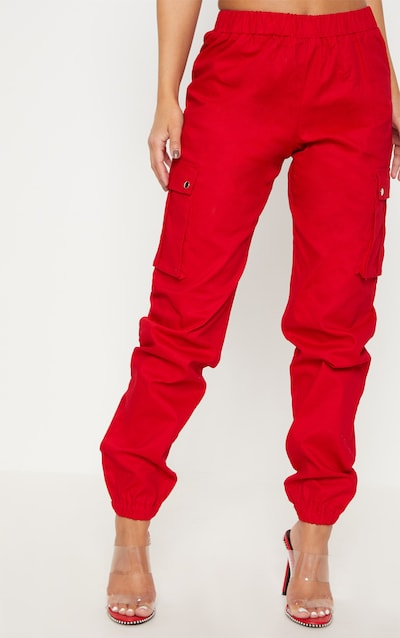 Petite Red Pocket Detail Cargo Trousers