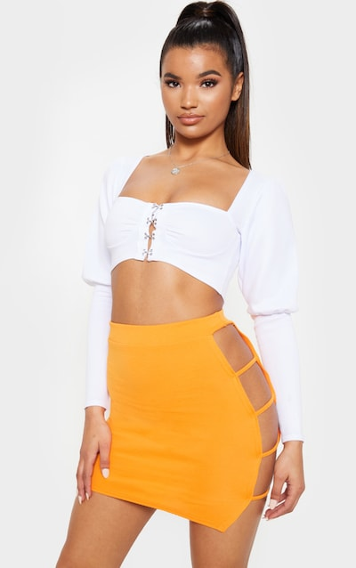 7fa610cd8c9 Orange Cut Out Detail Mini Skirt