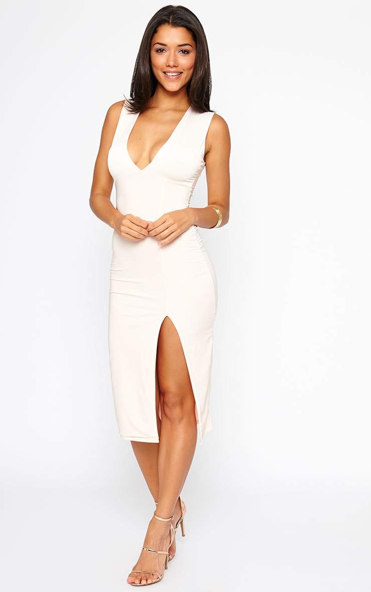 Christa Nude Sleeveless Plunge Split Front Dress 1
