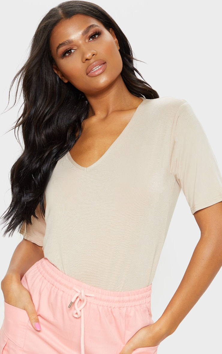 Basic Nude V Neck T Shirt 1