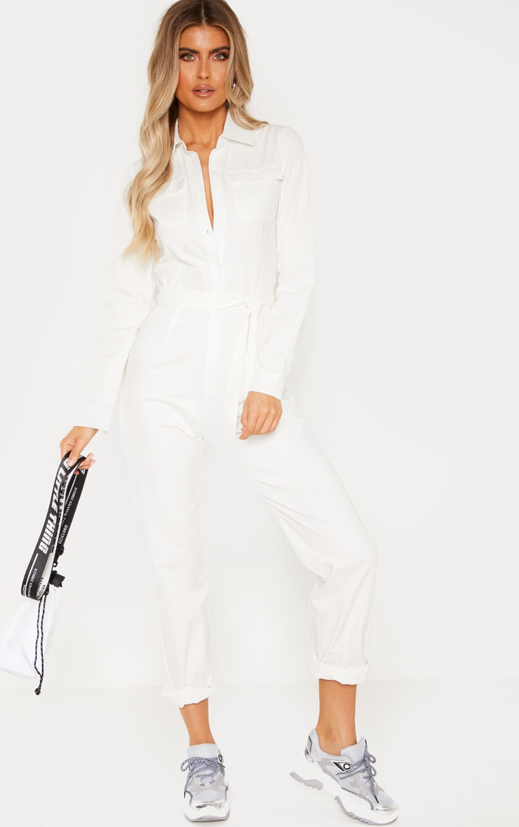 Tall White Square Pocket Long Sleeve Utility Jumpsuit 1