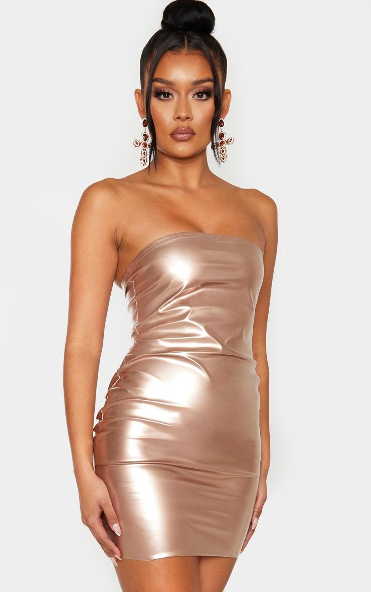 Rose Gold Metallic Bandeau Bodycon Dress 1