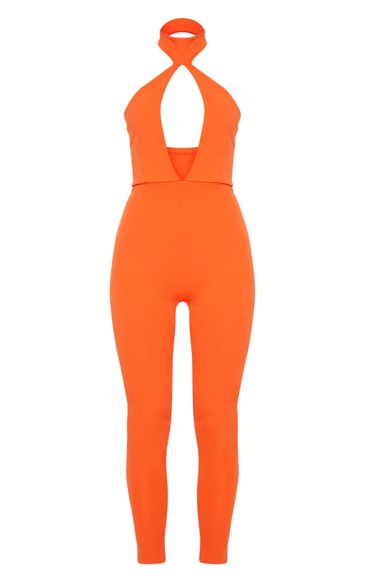Bright Orange Scuba Neck Detail Jumpsuit 3