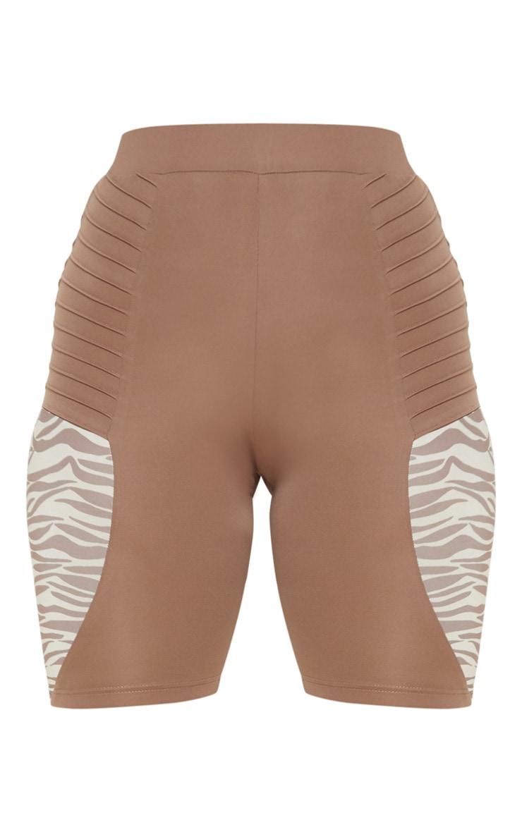 Zebra Ribbed Panelled Cycle Shorts 3