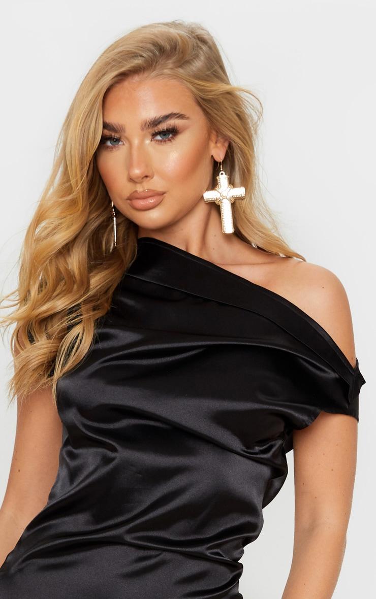 Black Off Shoulder Pleat Detail Satin Maxi Dress 5