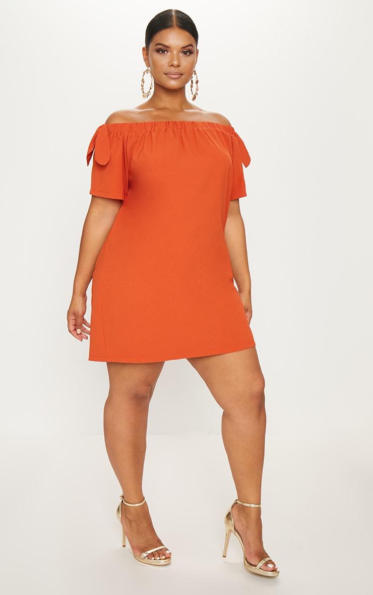 Plus Orange Crepe Bardot Swing Dress 4