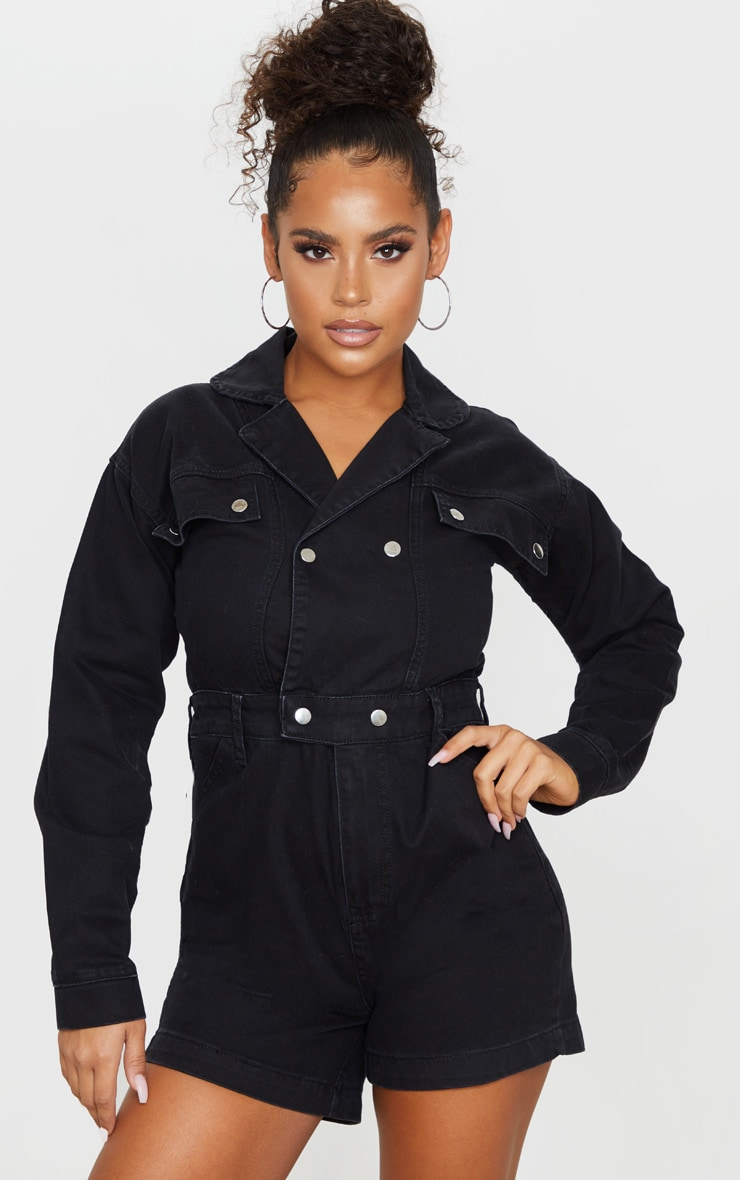 Washed Black Double Breasted Long Sleeve Denim Playsuit 3