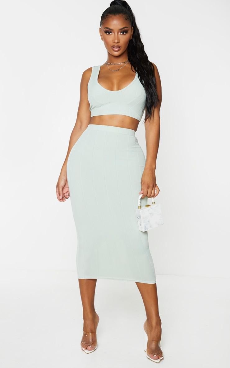 Shape Sage Khaki Bandage High Waist Midi Skirt 1