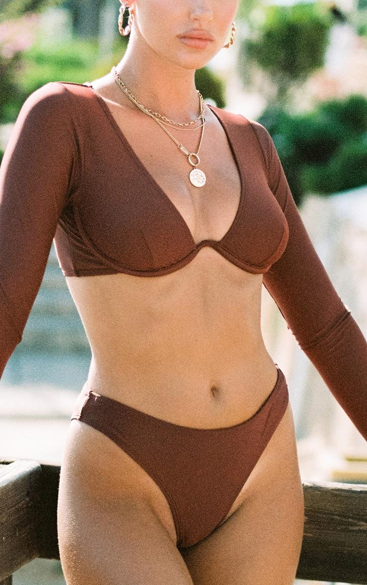 Deep Brown Mix & Match Cheeky Bum Bikini Bottom 4