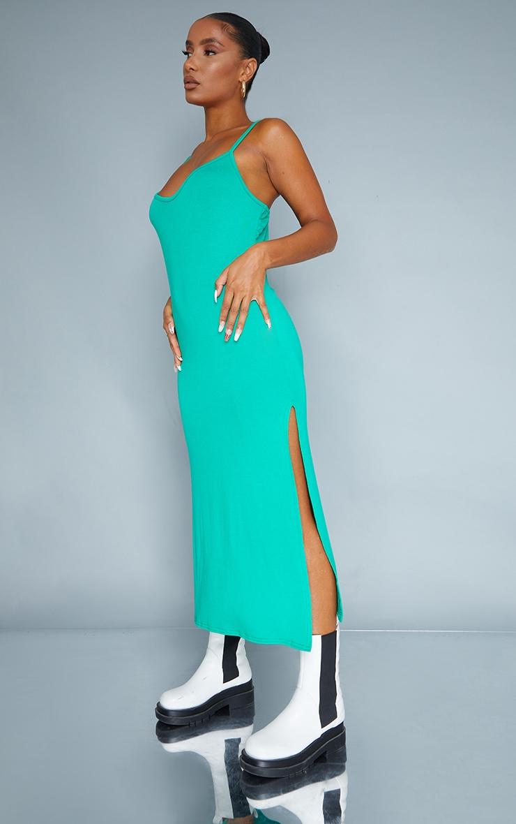Green Jersey Split Cami Midi Dress 3