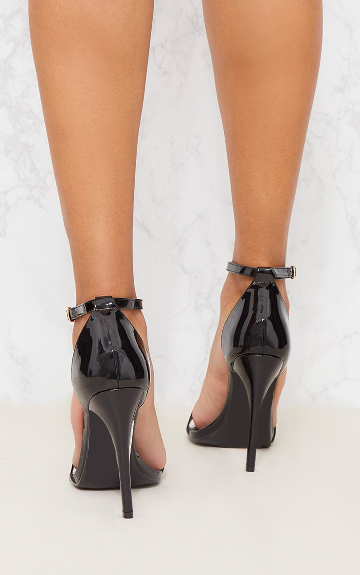 Black Patent Heeled Strappy Sandal 4