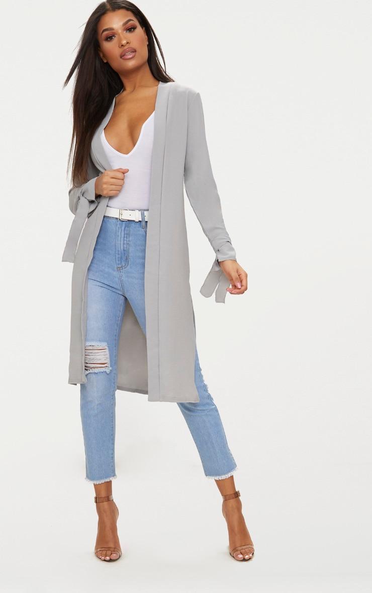 Aba manteau ample gris à manches nouées 1