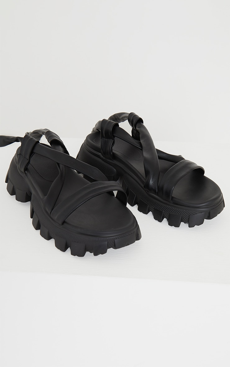 Black Extreme Cleated Sole Lace Up Ankle Tie Sports Sandals 3