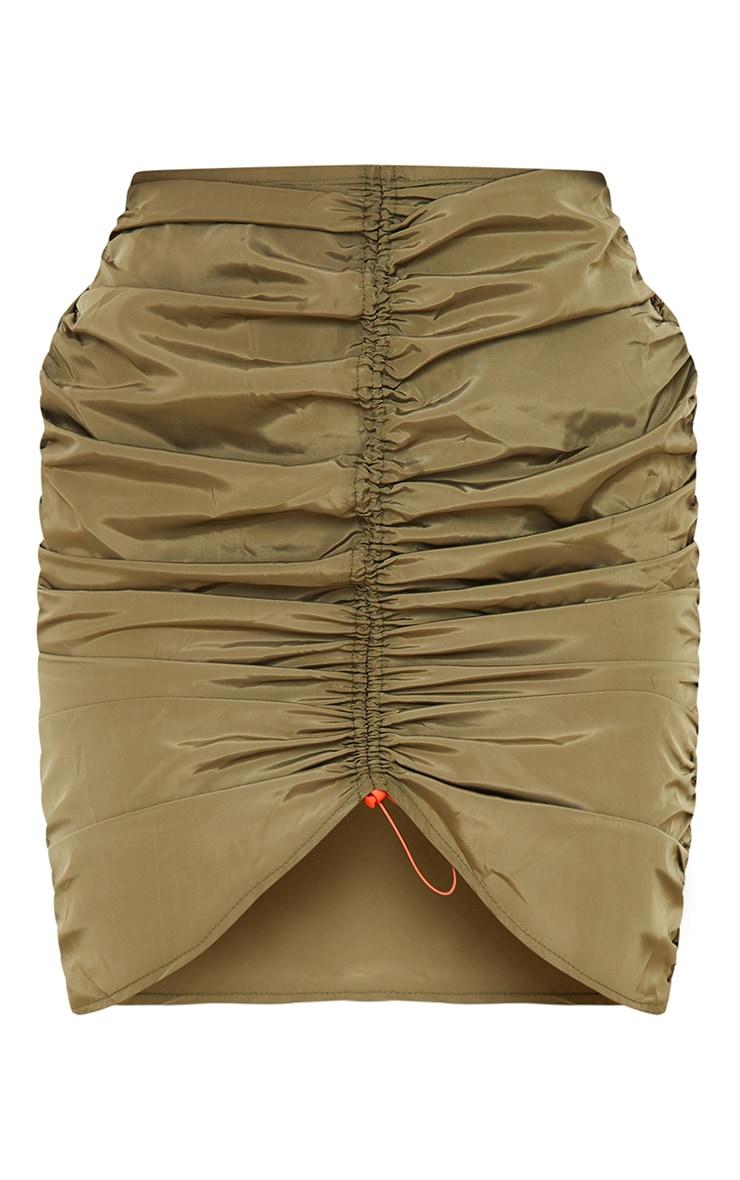 Khaki Shell Toggle Ruched Front Mini Skirt 5
