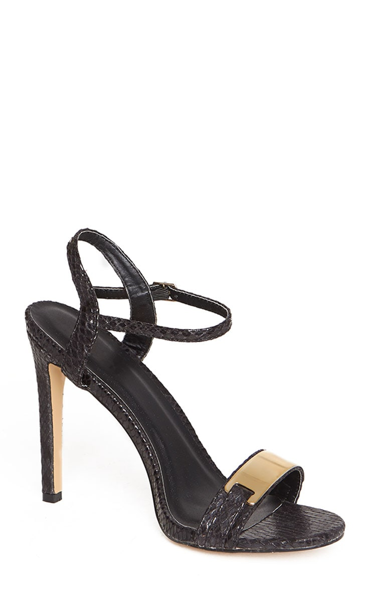 Jamie-Lee Black Gold Detail One Strap Sandals 7