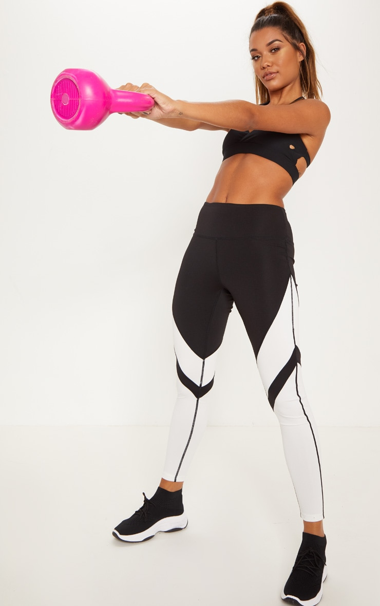 Black And White Sculpt Gym Active Legging