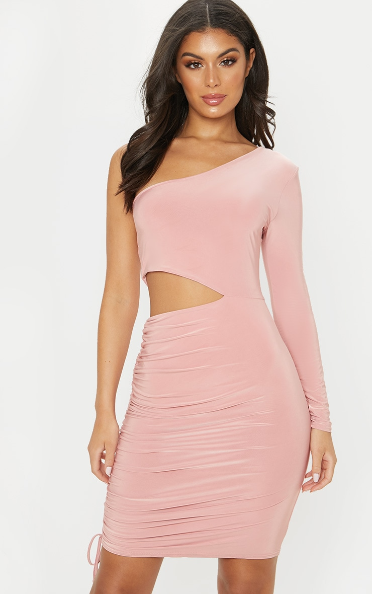 Rose Slinky Cut Out Ruched One Sleeve Bodycon Dress 1