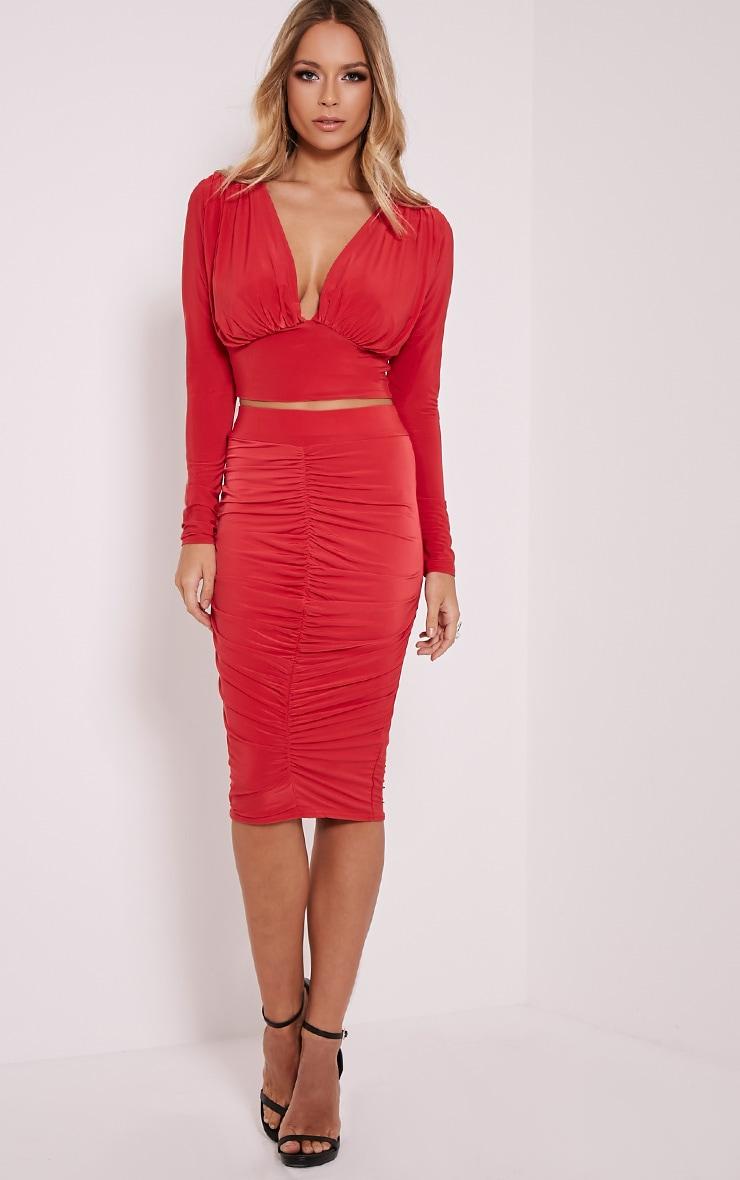 Nicole Red Slinky Ruched Midi Skirt 1