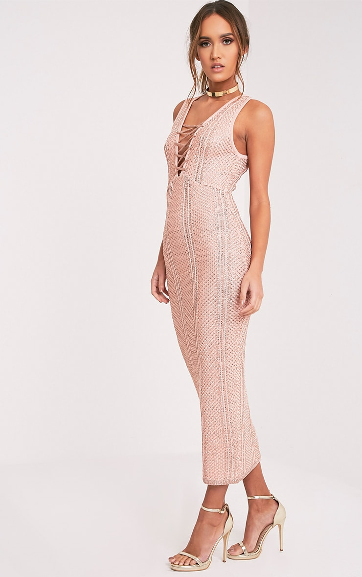 Avanya Blush Metallic Knitted Midi Dress 4