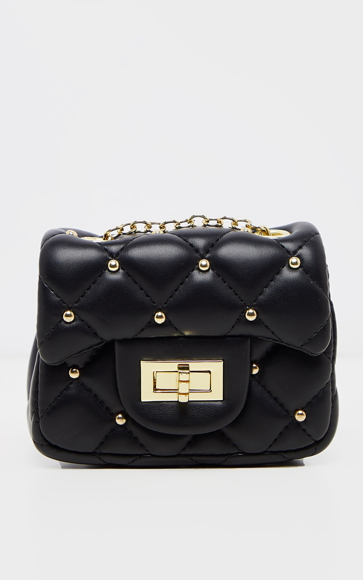 Black PU Quilted Studded Mini Cross Body Bag  2
