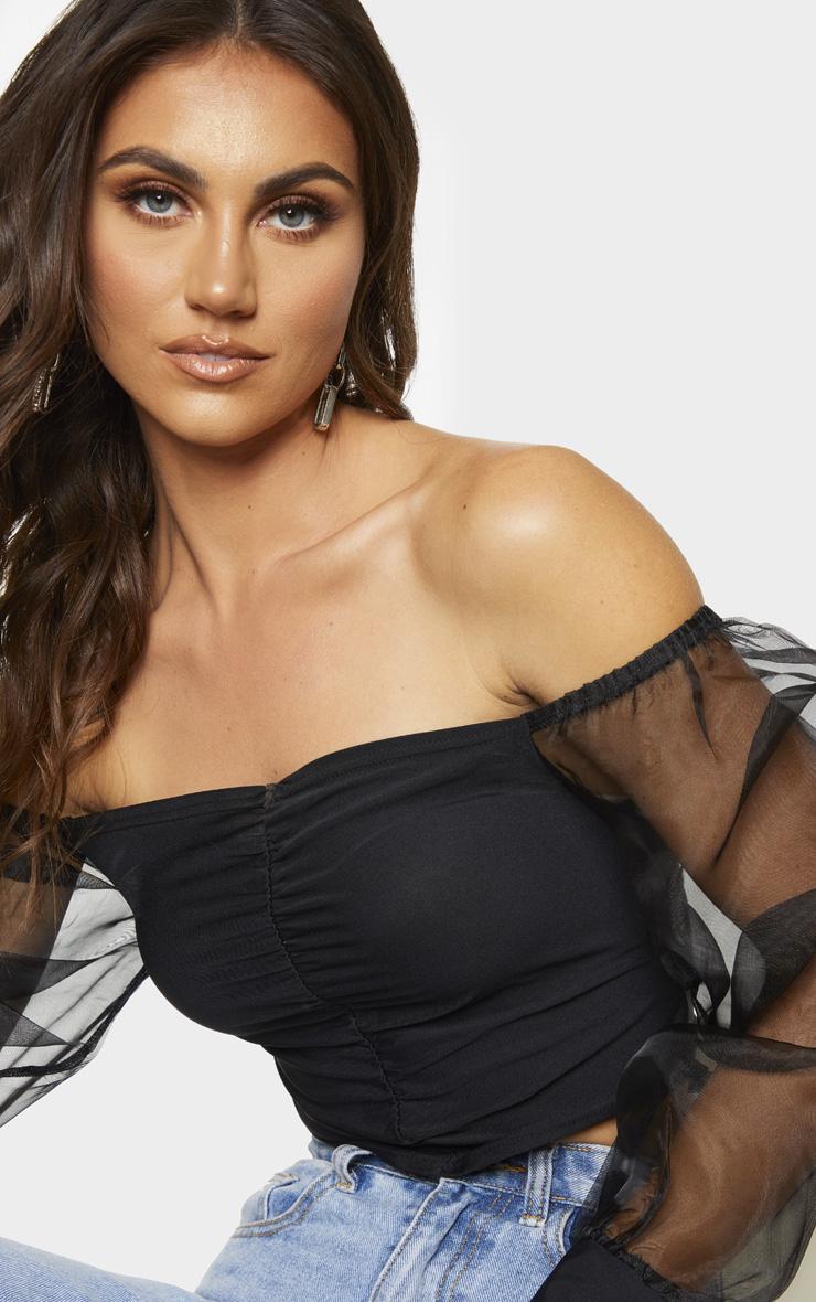 Black Slinky Sheer Organza Puff Sleeve Bardot Crop Top 4