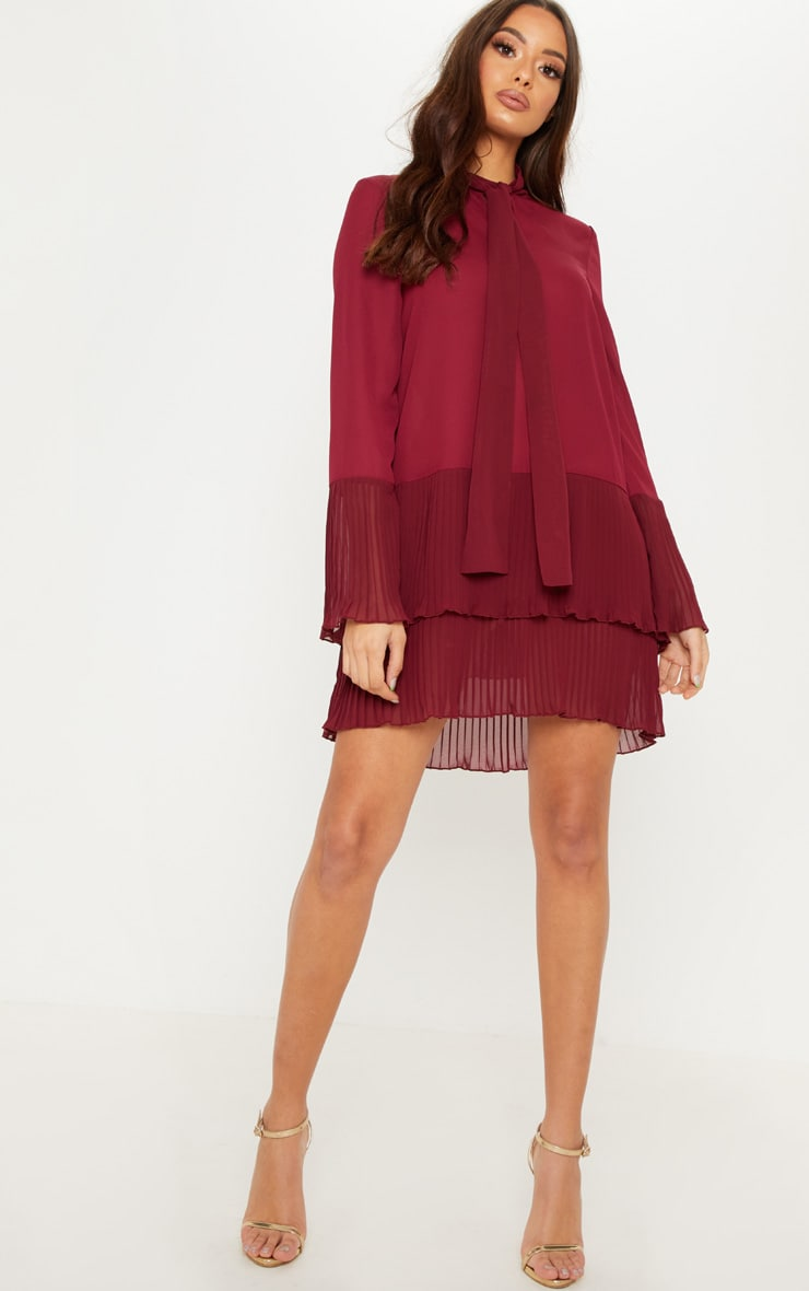 Burgundy Neck Tie Double Frill Pleated Layer Hem Shift Dress 4
