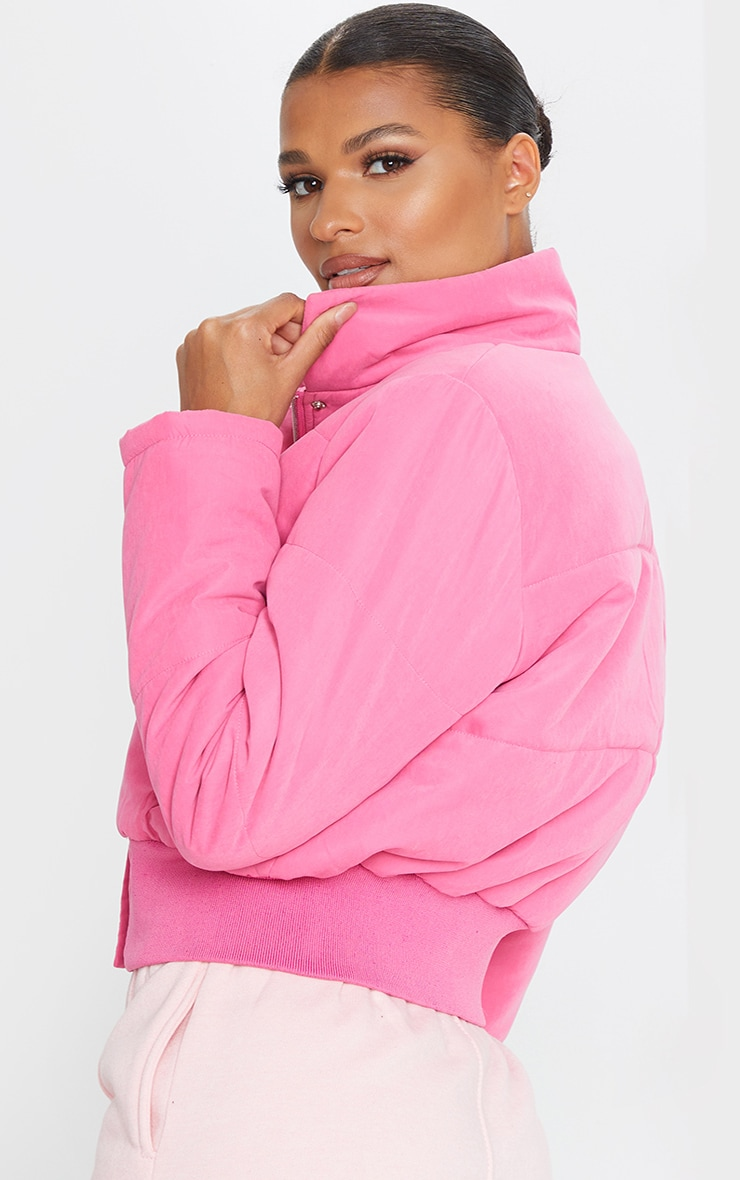 Pink Peach Skin Cropped Puffer Jacket 2