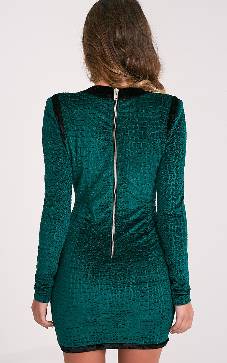 Khelsi Emerald Green Premium Eyelet Velvet Bodycon Dress 3