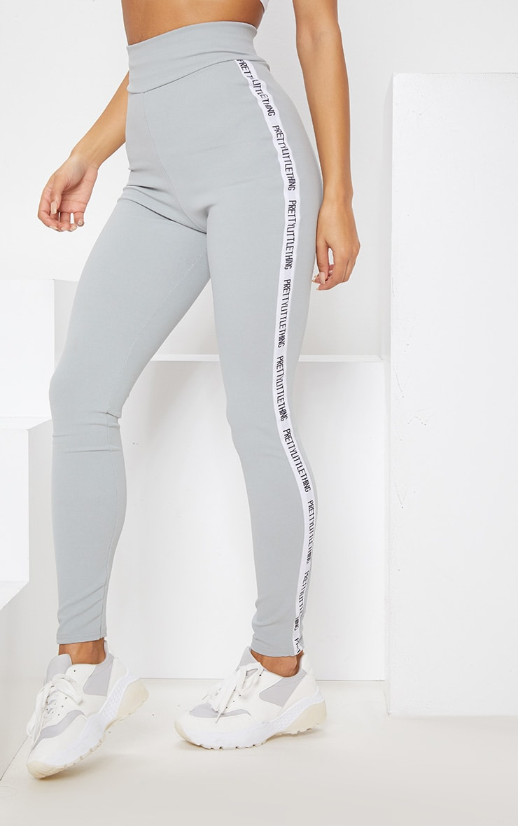 PRETTYLITTLETHING Grey Side Tape Leggings 4