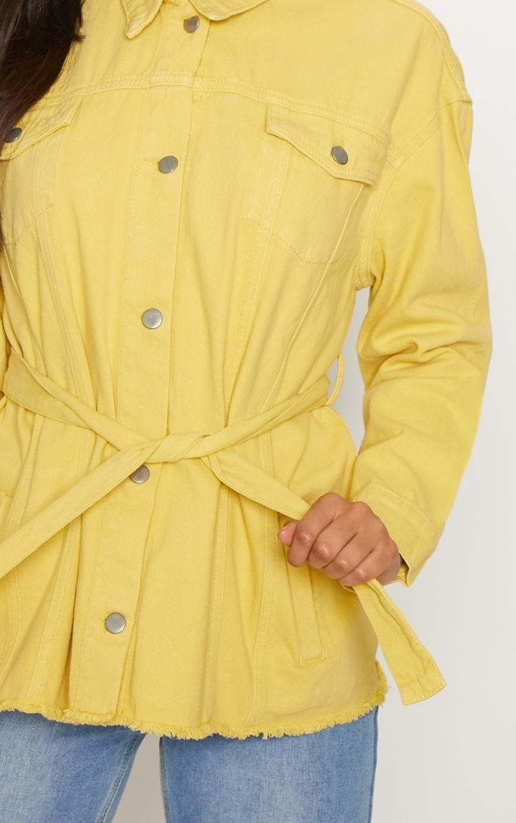 Yellow Tie Waist Oversized Denim Jacket 6