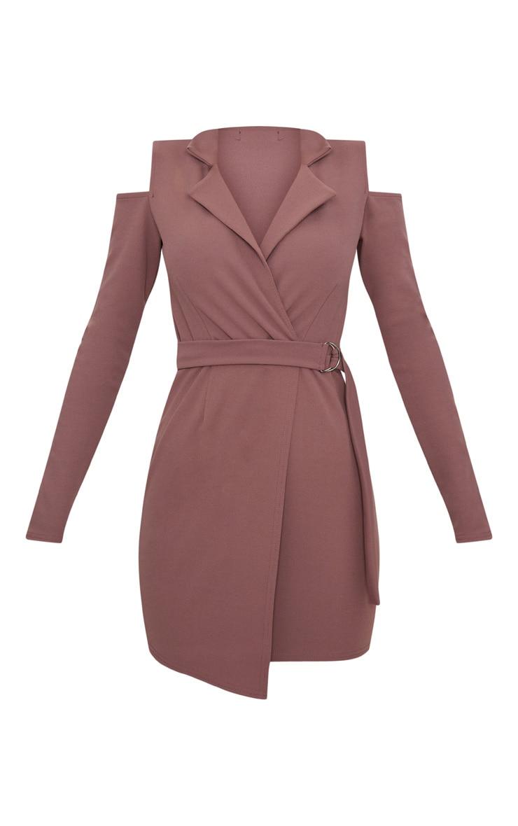 Dark Mauve Cold Shoulder Blazer Dress 3