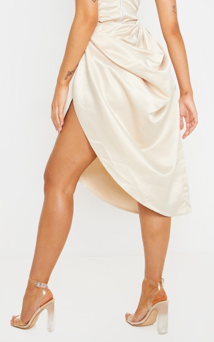 Cream Satin Woven Ruched Side Midi Skirt 4