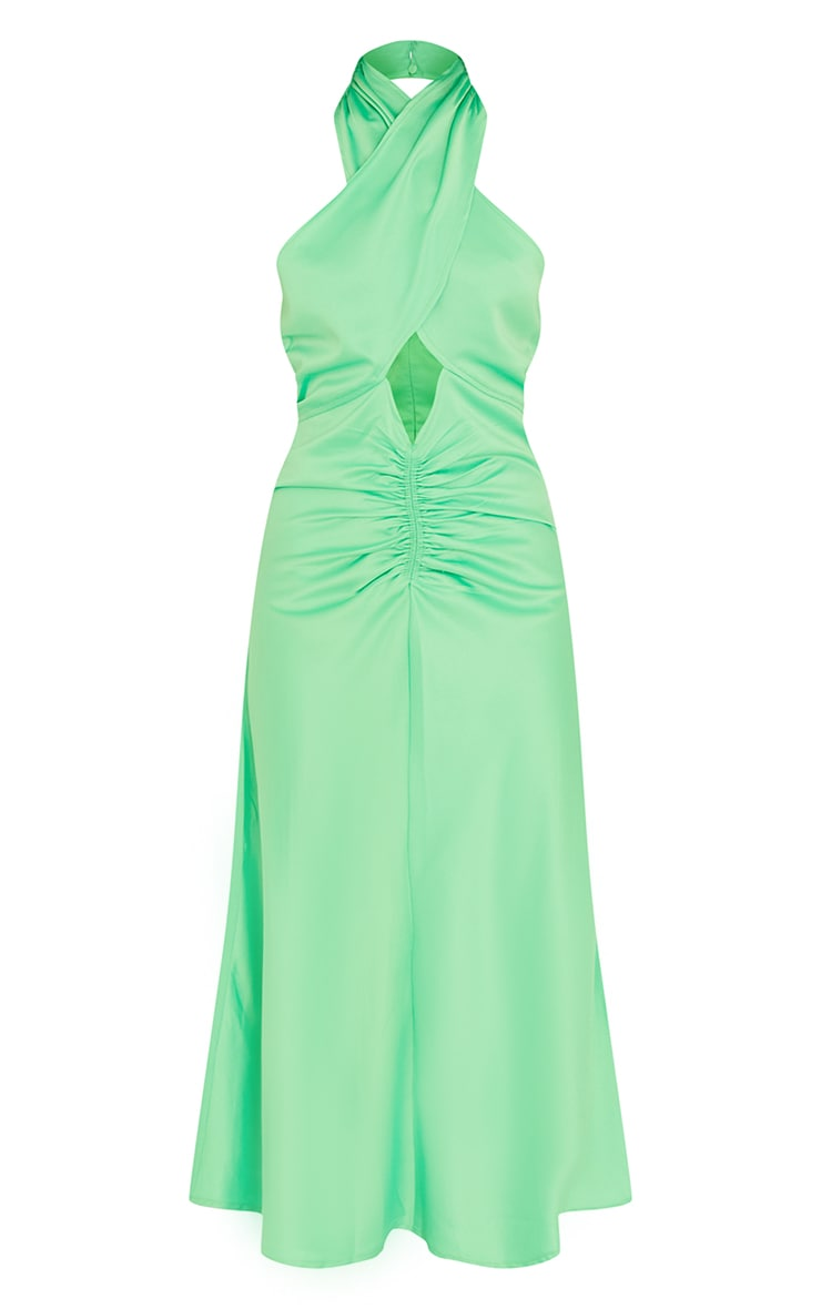 Lime Satin Halterneck Ruched Cut Out Midi Dress 5