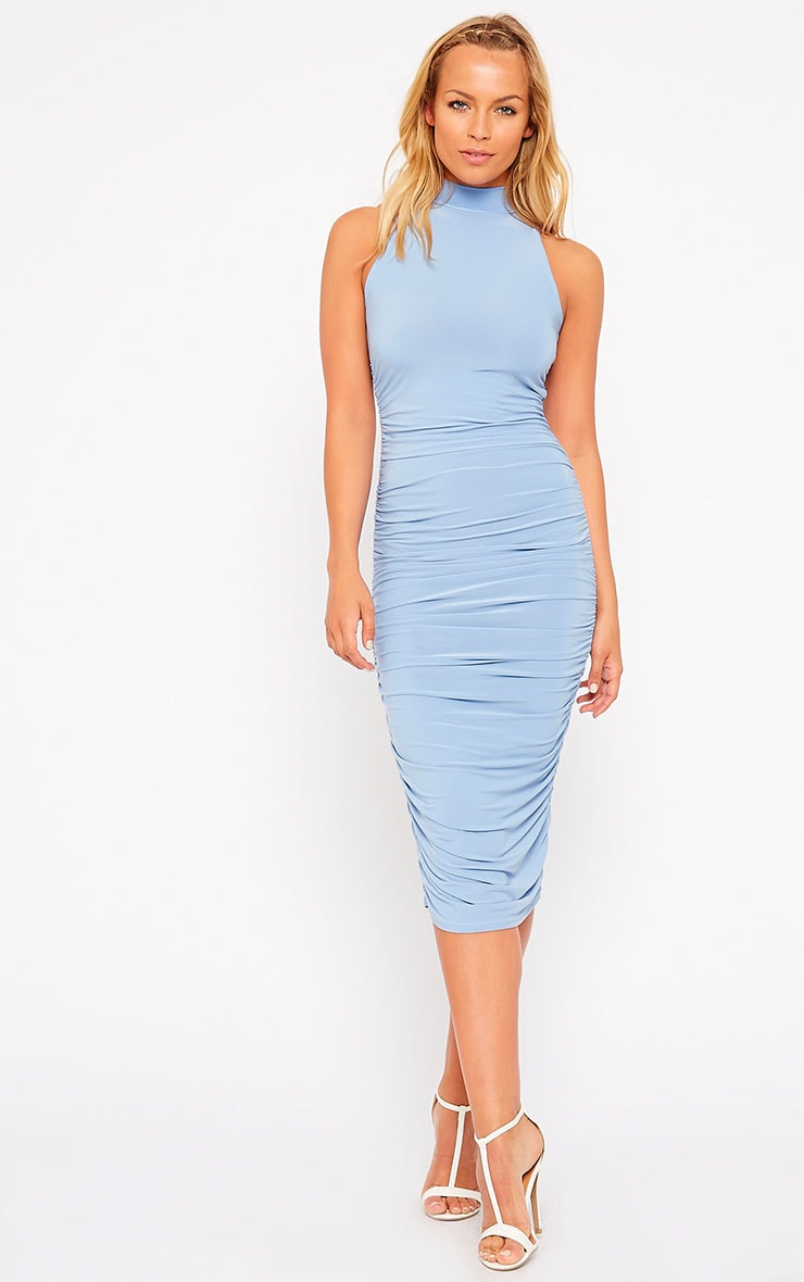 Alabama Powder Blue Slinky High Neck Ruched Sides Dress 3