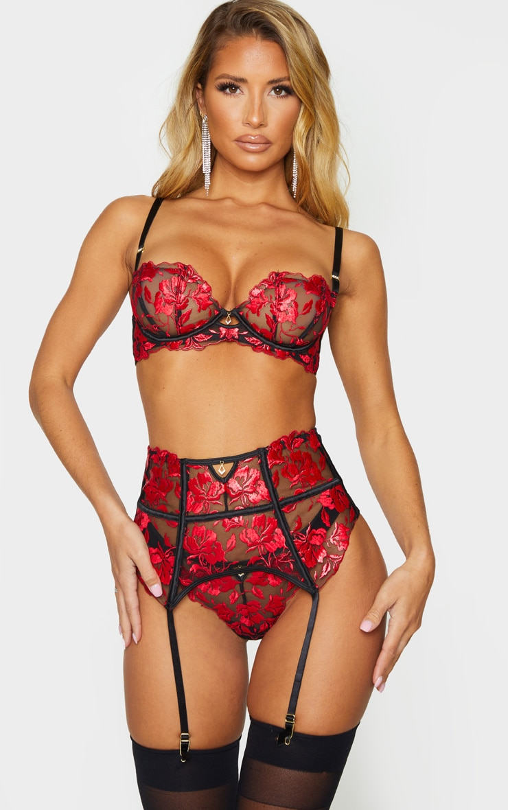 red ann summers floral embroidered lace bra