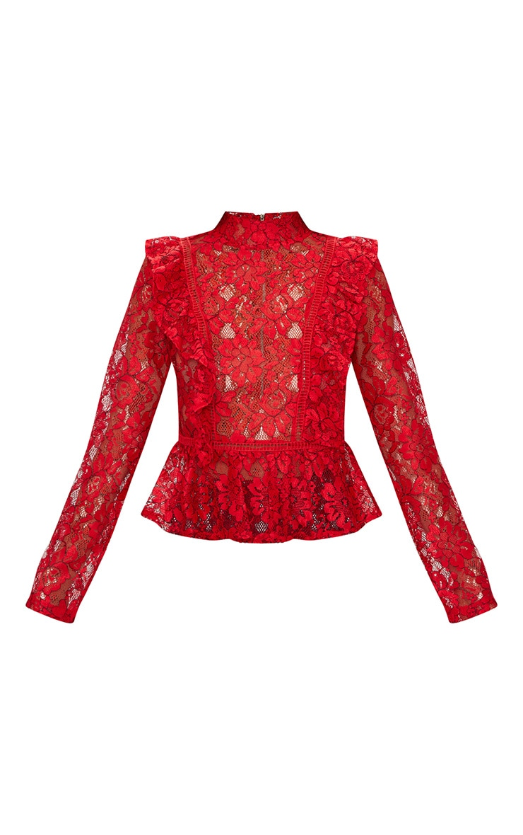 Red Frill Front Lace Blouse  3