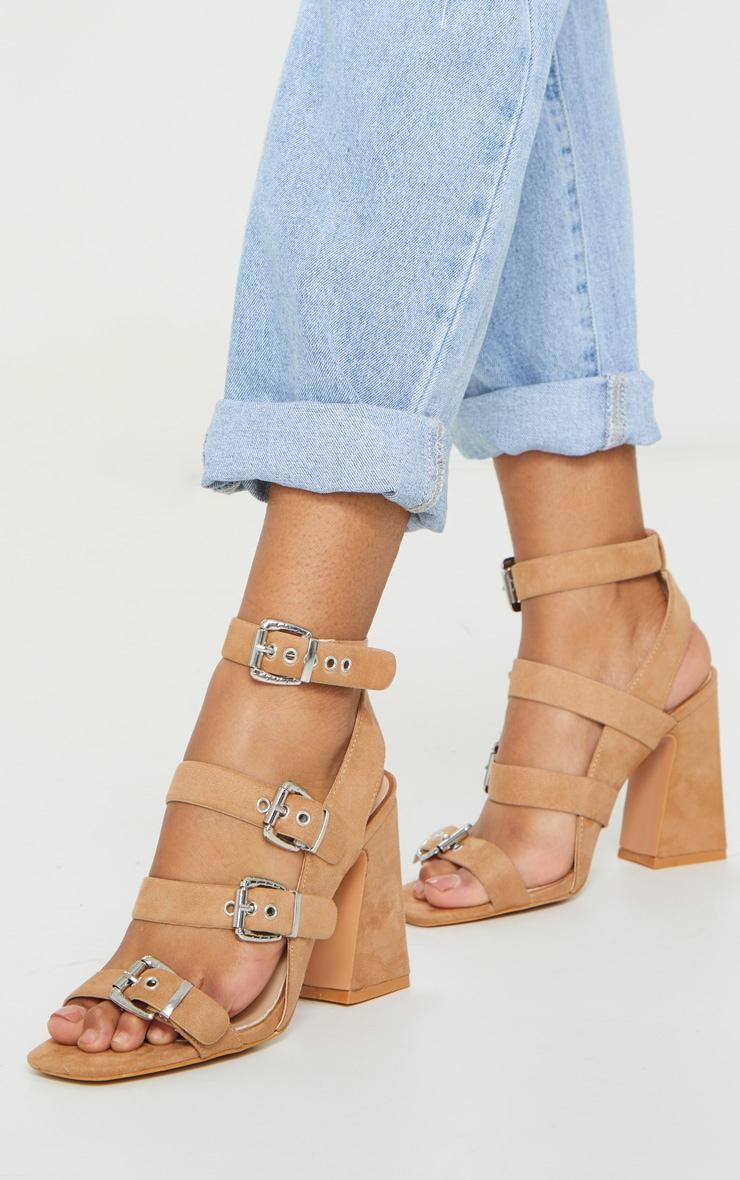 Tan Block Heel Multi Buckle Sandals 2