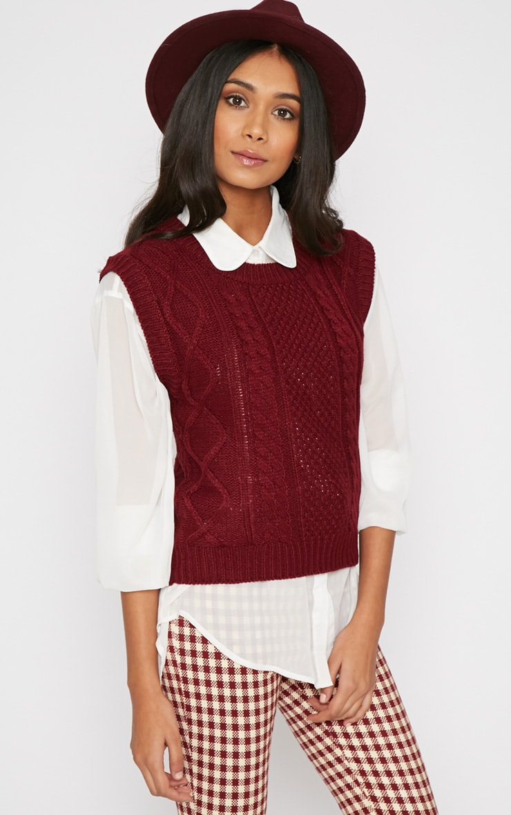 Cher Maroon Knitted Sleeveless Sweater  1