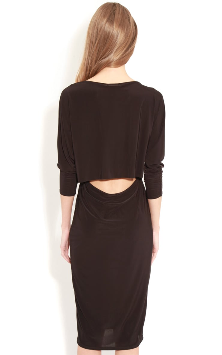Edan Black Long Sleeve Bodycon Midi Dress  2