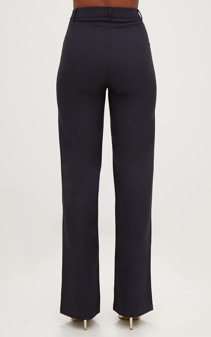 Navy High Waisted Straight Leg Trousers 4